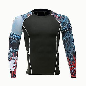 Fitness Long Sleeves T Shirt Men Running Bodybuilding Skin Tight Thermal