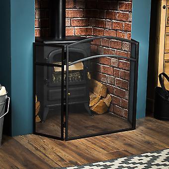 Milton 3 Panel Fire Guard Freestanding Fireplace Screen, Black