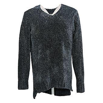 Orvis Women's Sweater V-Neckline Long Sleeve Marled Navy Blue