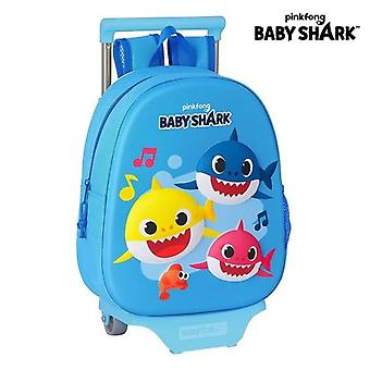 3D school bag with wheels 705 baby shark light blue