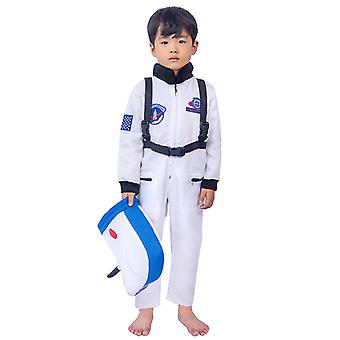 Kids Astronaut Costume Space Suit  With Hat And  Pockets