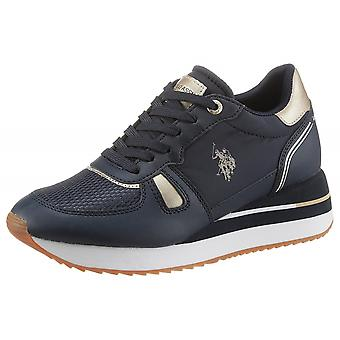 Schoenen Dames Us Polo Sneaker Running Sylvi In Faux Leather / Blue Fabric Ds21up03