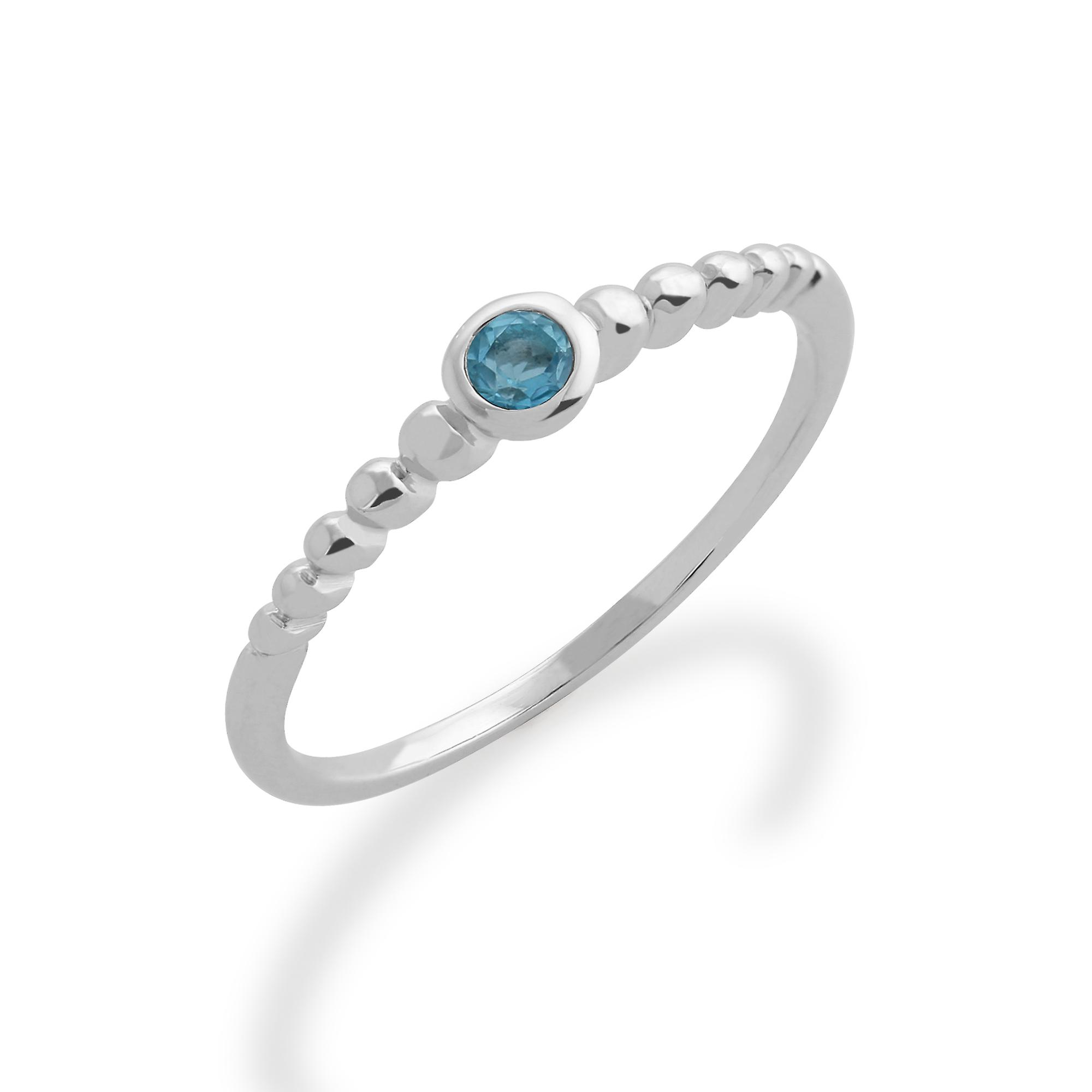 Gemondo 925 Sterling Silver 0.11ct Blue Topaz Stackable Birthstone Ring