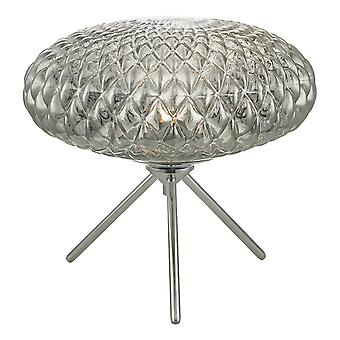 Table Lamp Polished Chrome with Smoked Glass Large
