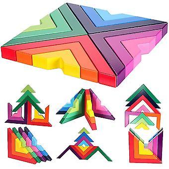 FengChun Holzbausteine Regenbogen Stapeln Spielzeug Geometrie Bausteine Pdagogisches Puzzle