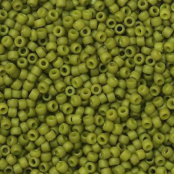 Tohon siemenet, pyöreä 15/0 #2601F 'Puolilasitettu - Oliivi', 8 grammaa