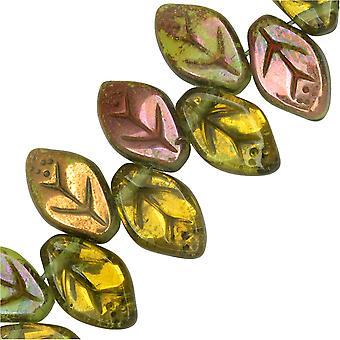 Czech Glass Beads, Medium Leaf 12x8mm, Olivine Transparent, Copper, 1 Strand, by Raven's Journey