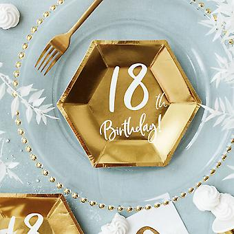 18th Birthday Party Plates   Gold Age 18 Tableware 20cm x6