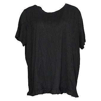 Hvem som helst kvinners topp crinkle strikket t-skjorte med ruffle hem svart a353784