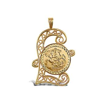 Jewelco London Solid 9ct Gold Pound Sign St George & Dragon Medallion Pendant (Full Sov Size)