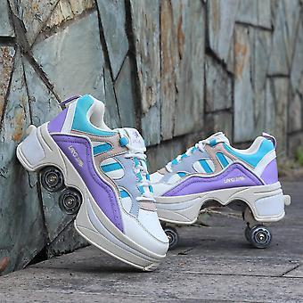 Lederen 4 wielen dubbele lijn rolschaatsen schoenen - paars