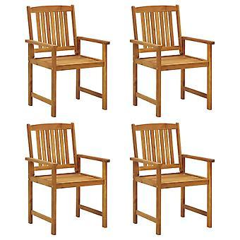 sillas de director vidaXL con cojín 4 piezas. Madera de acacia maciza