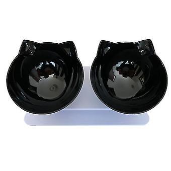 Čierna dve misky 15 stupňov naklonené zvýšené mačka misa pes misa pet dvojitá misa x6663