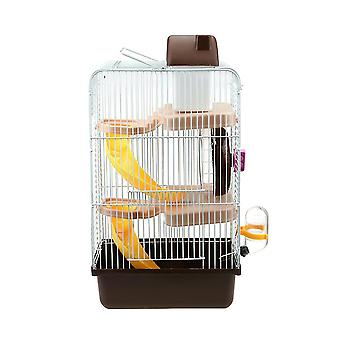 1pc Hamster Cage With Three Layer Brown