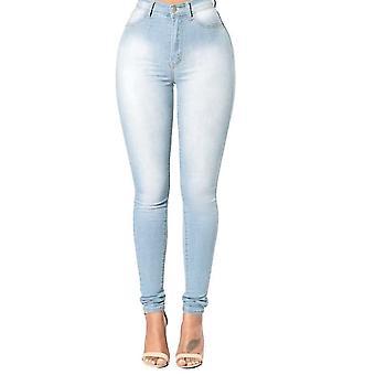 Mulheres jeans jeans skinny clássico cintura alta lavado calças finas calças lápis