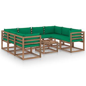 vidaXL 9 pezzi. Set lounge da giardino con cuscini verdi