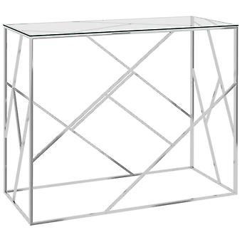 vidaXL Side Table Silver 90x40x75 cm Stainless Steel and Glass