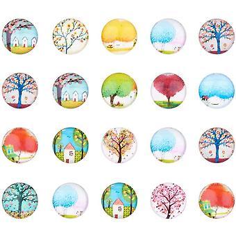 20 pcs Leben Baum Halbrund Kuppel Glascabochons Gemischte Farbe Größe 12x4mm