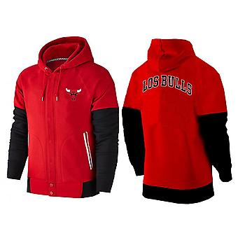 Chicago Bulls Buttoned Zipper Sports Hooded Loose Sweatshirt Pullover Hoodie