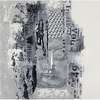 Fin Asianliving Maleri Buddha Ansikt Sølv 3D