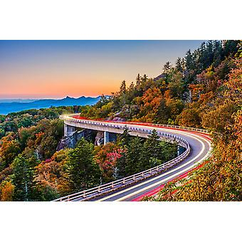 Veggmaleri Linn Cove Viaduct i North Carolina