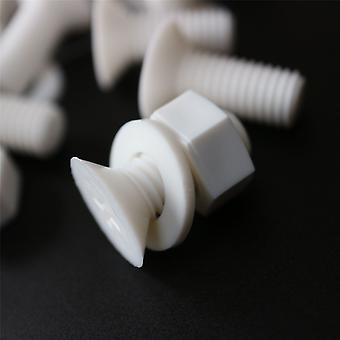 20x Wit Gezonken Polypropyleen (PP) Moeren, Bouten, Ringen M8 x 20mm