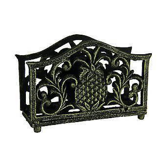 Black Gold Tropical Pineapple Cast Iron Napkin Holder