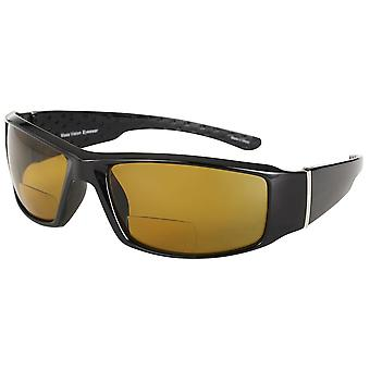 """""""The Contender"""" Polarized Full Frame Sport Wrap Bifocal Sunglasses for Men and Women - Yellow Night Driving - 3.00"""