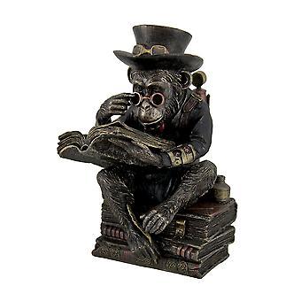 手描きのスチーム パンクな学者チンパンジー ファンタジー像