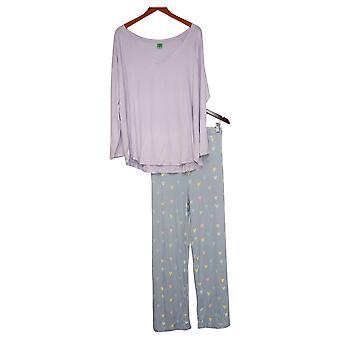 Honeydew Women's 2-Piece Pajama Set Novelty Heart Print Blue