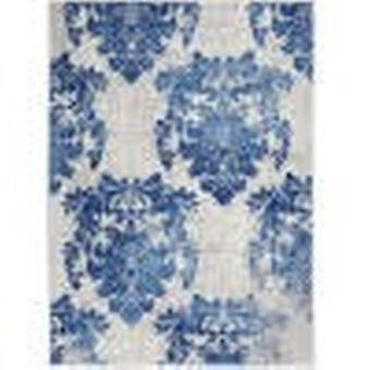 5' x 7' Ivory and Navy Damask Area Rug