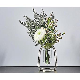 Nordisk stil guldpläterade miljövänliga metalldekorvaser med blommor (Golden Height 16cm6)