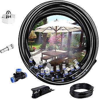 Misting System, 10m Bevattningssystem Utomhus Misting System Kylsystem Perfekt för Lusthus Trädgård Uteplats 12 Munstycke (svart)