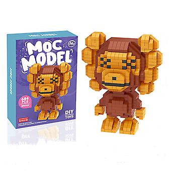 Monkey Concrete Block  For Creative Play Building Block Sets