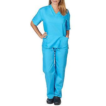 Women Medical Scrub Doctor Uniform Top Pants Set Nurse Dentist Suit