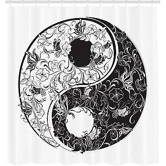 Yin And Yang Shower Curtain, Floral Decoration, Fabric Bathroom Decoration Set With Hooks, Dark 120x180cm