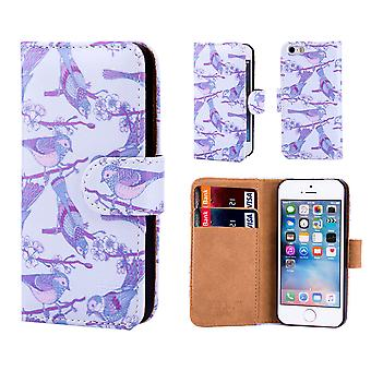 32nd Floral Design Book for Apple iPhone 5 5S SE - Iris Birds