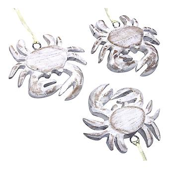 Whitewashed Crab Carved Wood Holiday Ornaments Set of 3