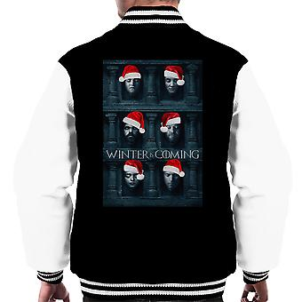 Winter Is Coming Game Of Thrones Faces Christmas Men's Varsity Jacket
