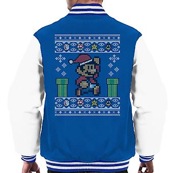 Kerst Super Mario Pixel brei mannen Varsity Jacket