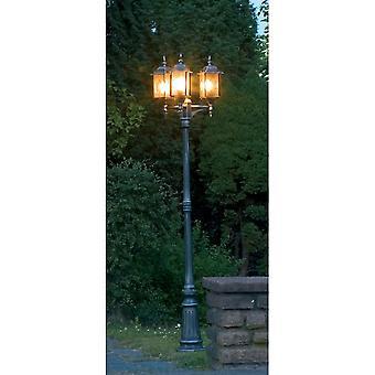 Konstsmide Milano svart oppkjørselen 3 Lantern utendørs Pole lys