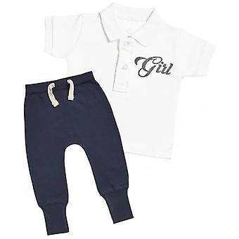 Verwöhntes faule Mädchen Design Baby Polo T-Shirt & Navy Jogger-Outfit-Set