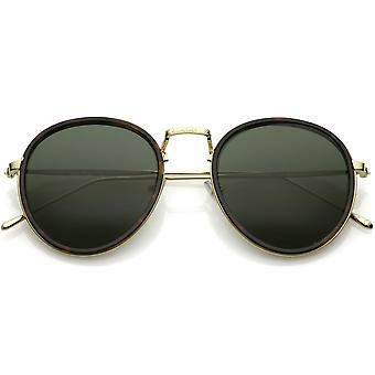 Modern Round Sunglasses Engraved Slim Metal Arms Neutral Color Flat Lens