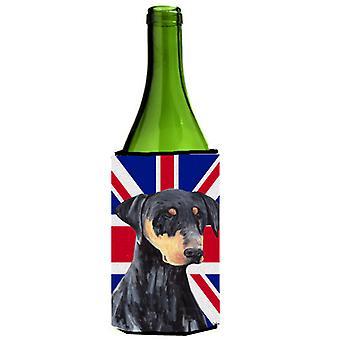 Dobermann mit englischen Union Jack britische Flagge Weinflasche Getränk Isolator Umarmung