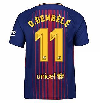 2017-2018 Barcelona thuis Shirt (O Dembele 11) - Kids