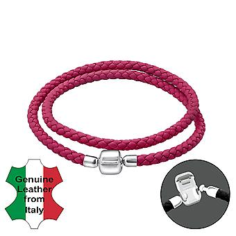 Leather Bead Bracelet With Silver Lock - 925 Sterling Silver + Leather Cord Bead Bracelets - W35635X