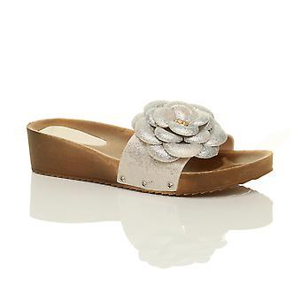 Ajvani womens metà tacco alto zeppa flatform piattaforma scintillio fiore calzare scarpe sandali muli
