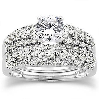7/8ct Diamond Engagement Wedding Bridal Ring Set