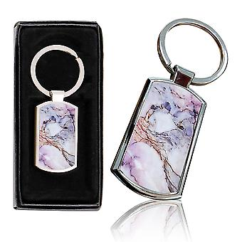 i-Tronixs - Premium Marble Design Chrome Metal Keyring with Free Gift Box (3-Pack) - 0040