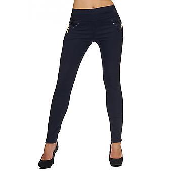 Ladies høy midje Jeans bukser bukser Tube Denim strekke tynne Corsage rør